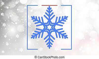 Blue snowflake on silver bokeh background