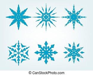 Blue Snowflake Vector Set