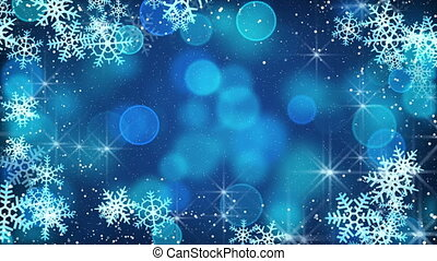 blue snowflakes and blinking stars loopable background
