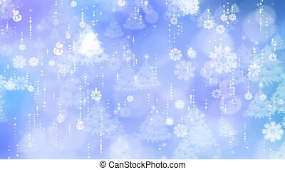 Blue Snowflakes and Christmas Tree Background
