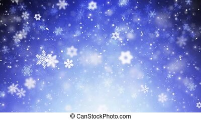 Blue Snowflakes And Stars Falling Seamless Loop 4K