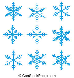 Blue Snowflakes isolated on a white background