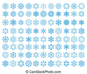 Blue snowflakes on a white background. A vector illustration