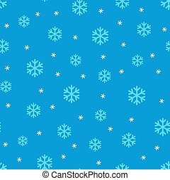 Blue snowflakes on blue seamless vector pattern