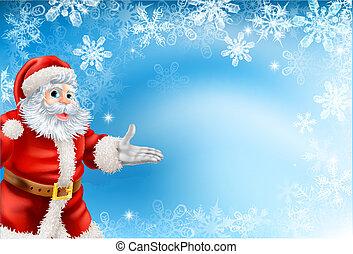 Blue snowflakes Santa background