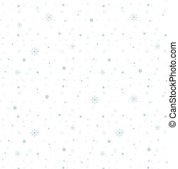 Blue snowflakes seamless pattern on white background. Vector illustration.