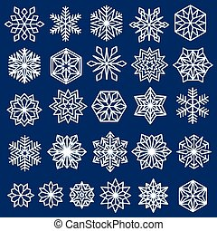 Blue Snowflakes Set Line Design - Snowflakes Set. Line...