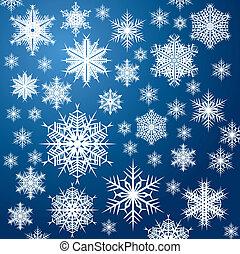 blue snowflakes - white snowflakes on blue background...