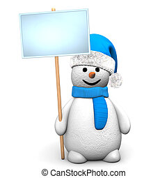 Blue Snowman Signobard - Blue snowman with sign board on the...