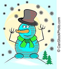 Blue snowman with hat and scarf