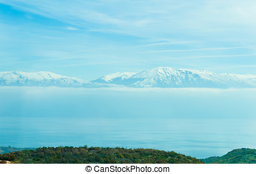 Blue snowy mountains in Macedonia