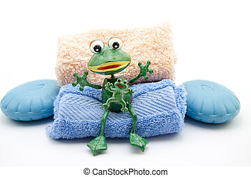 Blue soap with frog