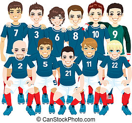 Blue Soccer Team Players - Illustration of male professional...