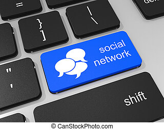 Blue social network button on the keyboard.
