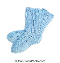 Blue socks - Blue woolen socks isolated on white background