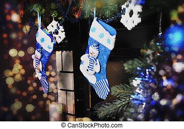 Blue socks for Christmas