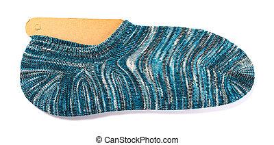 blue socks for men on a white background