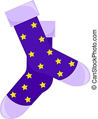 Blue socks, illustration, vector on white background.