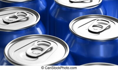 Blue soda cans looping 3D animation