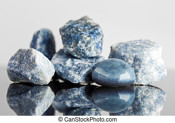 Blue sodalite, uncut and tumble finished, crystal healing - ...