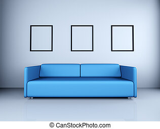 Blue sofa and empty picture frames