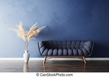 Blue sofa and white pampas grass vase in new simple living ...