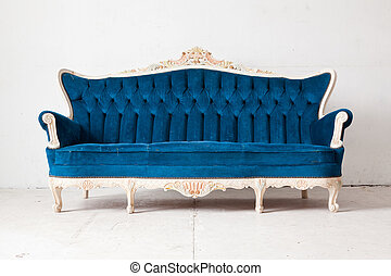Blue Sofa bed - Blue vintage classical style Sofa bed