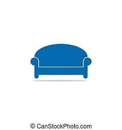 Blue sofa home furnishing interior design template