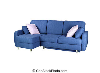 blue sofa isolated on a white background