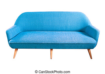 blue sofa isolated with clipping path