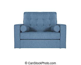 blue sofa on white background