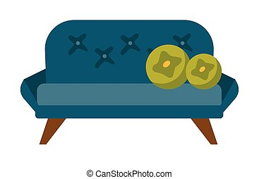 Blue sofa with pillows vector cartoon illustration
