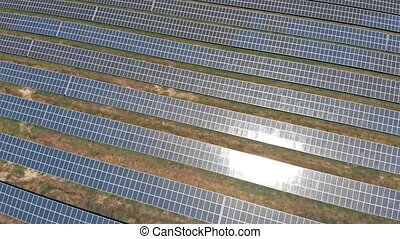 Blue solar farm aerial view - Aerial view on blue solar...