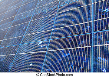 blue solar panel - blue-tinted polycrystalline silicon...