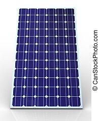 Blue solar panel on white background