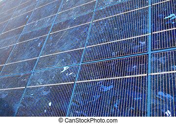 blue solar panel - blue-tinted polycrystalline silicon...