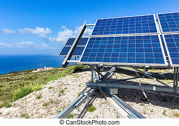Blue solar panels at coast near sea in Kefalonia Greece