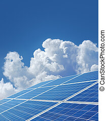 Blue solar power panels generating renewable energy.