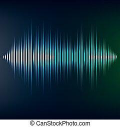 Blue sound wave on blackbackground. EPS10 vector file