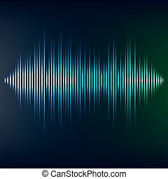 Blue sound wave on blackbackground. EPS10 vector file