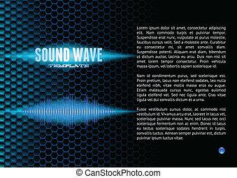 Blue sound waveform on hex grid for booklet