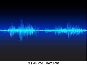 Blue sound waves glow light