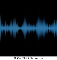 Blue Sound Waves Oscillating Equalizer on Black Background. Vector