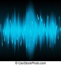 sound wave - blue sound waves oscillating on black ...