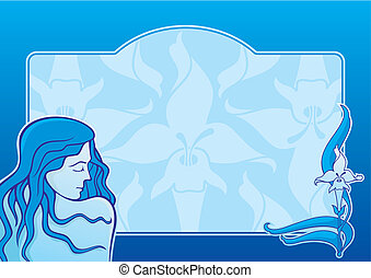Blue spa girl horizontal vector
