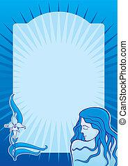 Blue spa girl vertical vector