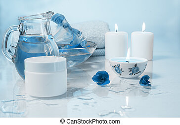 blue spa still life