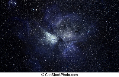 Blue space background - Cosmic background with many bright...