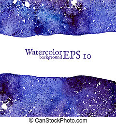 Blue space background. Watercolor Vector illustration.