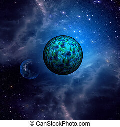 Blue space clouds and planets